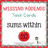 """Missing Addends Task Cards SCOOT """" APPLES """" - sums within 20"""
