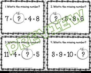 Missing Addends Task Cards SCOOT - balancing equations sums to 20 - APPLES