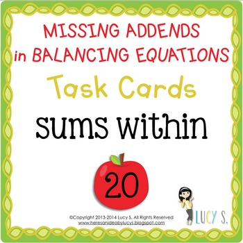 Missing Addends Task Cards SCOOT - balancing equations sum