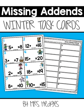 Missing Addends Task Cards-Winter