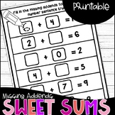 Missing Addends Task Cards and Worksheets