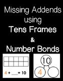 Missing Addends Tens Frames and Number Bonds FREEBIE!