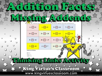 Missing Addends Thinking Links - Addition Facts - King Virtue's Classroom