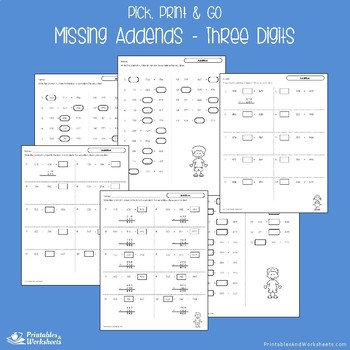 Missing Addends Three Digit Worksheets With Answer Keys