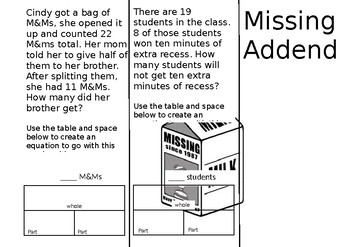 Missing Addends Tri Fold