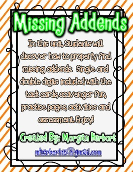 Missing Addends Unit