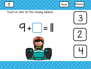 Distance Learning for Google Classroom Missing Addends Within 20 Race Car Kids