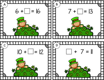 Missing Addends Within 20   St. Patrick's Day   Grades 1 and 2