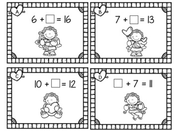 Missing Addends Within 20   Valentine Cupid  Grades 1 - 2