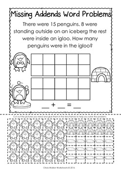 Missing Addends Word Problems - Cut and Paste - Grade One Worksheets!