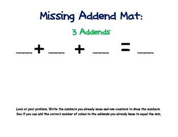Missing Addends: Work Mats, Problem Cards and Worksheets