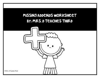 Missing Addends Worksheet