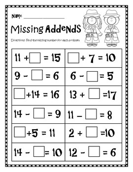 Missing Addends Worksheet by Boren2Teach | Teachers Pay Teachers