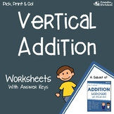 Vertical Addition With and Without Regrouping Worksheets, Add Vertically