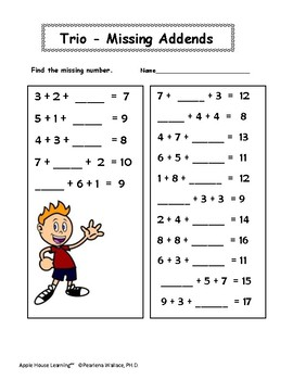 Missing Addends:  Addition Worksheets 1st & 2nd Grade (Math)