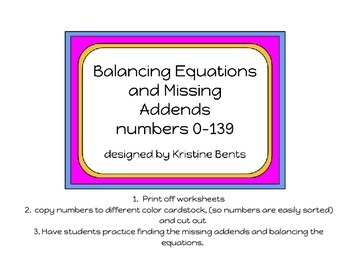 Missing Addends and Balancing Equations