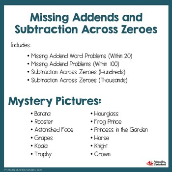 Missing Addends and Subtraction Across Zeroes