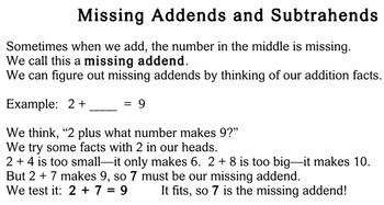 Missing Addends and Subtrahends - Individualized Math - worksheets