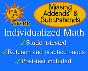 Missing Addends and Subtrahends - Individualized Math - wo