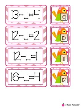 Missing Addends and Subtrahends Matching Game