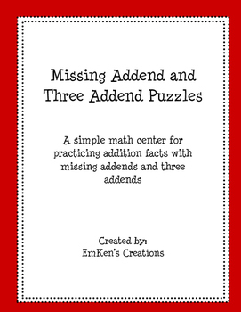 Missing Addends and Three Addends Puzzles