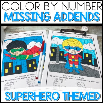 Color By Number Missing Addends Super Hero Themed Math Worksheets