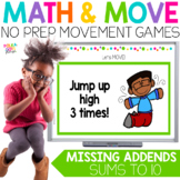Missing Addends to 10 Movement Math Game for Google (TM) a