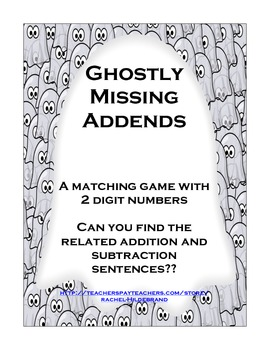 Missing Addends with 2 Digit Numbers: Ghosts!!