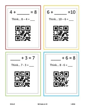 Missing Addends with QR Codes