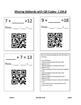 Missing Addends with QR Codes Freebie