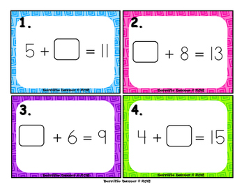 Missing Addends with Sums to 20 Task Cards