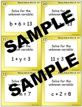 Missing Addends within 20 (Set 1) Addition Task Cards