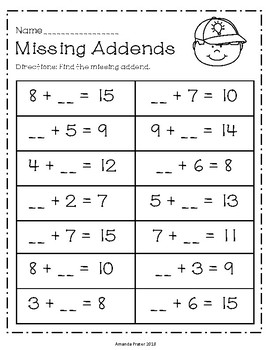 Missing Addends Worksheets and Center Activity