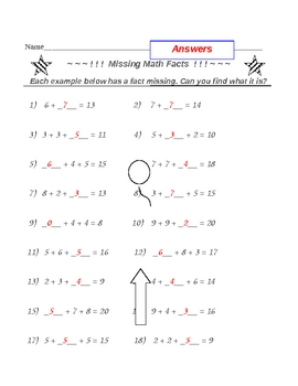 Missing Addition Facts