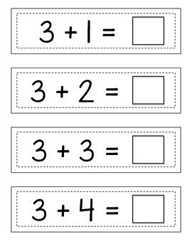 Missing Addition Sums: Strip Cards