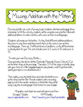 Missing Addition with the Mitten
