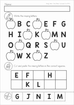 Missing Alphabet Letters Cut and Paste - SCHOOL Theme
