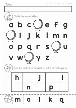Missing Alphabet Letters Cut and Paste - SCHOOL Theme