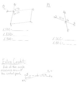 Missing Angle Measures Quiz