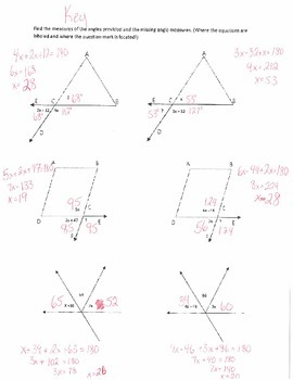 Missing Angle Measures Worksheet