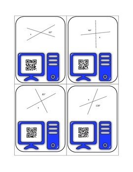 Geometry Vocabulary and Missing Angle QR Code Task Cards