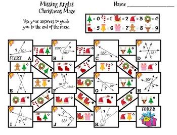 Missing Angles Activity: Christmas Math Maze