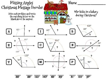 Missing Angles Christmas Math Activity: Message Decoder