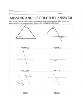 Missing Angles Color By Answer