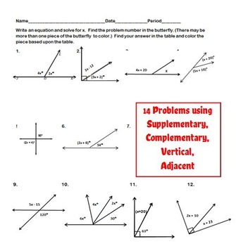 Missing Angles Coloring Activity:  Complementary, Supplementary, and Vertical