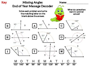 Missing Angles End of Year Math Activity: Message Decoder