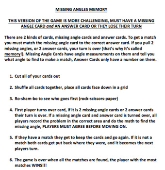 Missing Angles Memory Match- Requires Both Addition & Subtraction