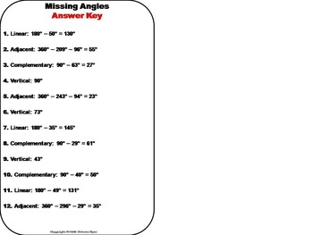 Solving for Missing Angles Task Cards 7th 8th 9th 10th Grade