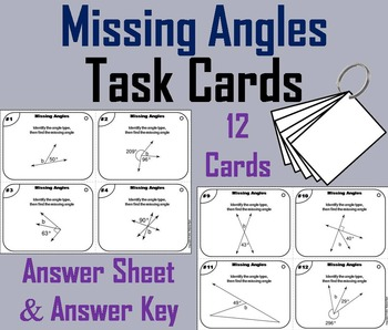 Missing Angles Task Cards/ Missing Angles Practice/ Missin