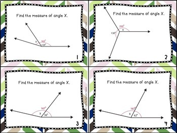 Missing Angles Task Cards (adjacent, complementary, supplementary, vertical)